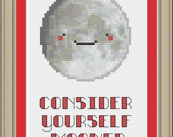 Consider yourself mooned: funny moon cross-stitch pattern