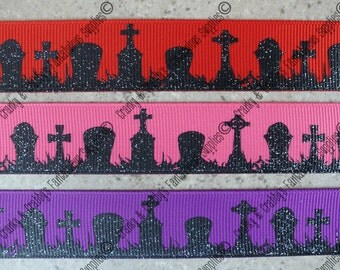 "7/8"" Wicked Collection  - Graveyards -  - US Designer Printed Ribbon - 1yd, 3yd or 5 yd - Cemetary Halloween"