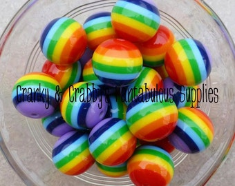 20mm Resin Gumball Rainbow Stripe Beads  -  Chunky Necklaces - Set of 10 - Rainbow Stripes
