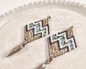Diamond Shaped Dangle Seed Bead Earrings with Pulse Design