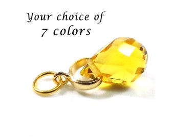 Crystal Faceted Teardrop Charm Pendant Dangle on Silver or Gold Bail