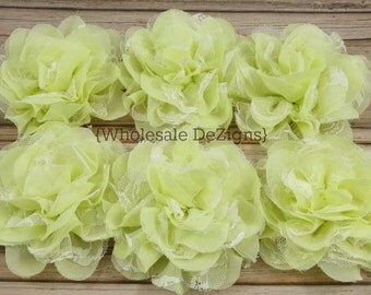 Pale Yellow Chiffon and Lace Flower - 4 inches