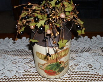 Price reduced primitive milk can arrangement with pipberries raspberriesor veggies