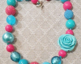 Pinks & Blues Gumball and Bubblegum Chunky Necklace