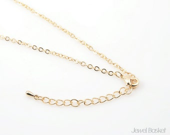 """15"""" Gold Plated Chain with Extension - 245SF (1.9mm x 2.6mm) / 15 inch (40cm) / COG007-CH (5pcs)"""