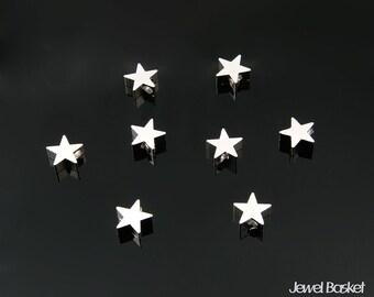Metallic Star Bead - Matte Rhodium Little Star / 5mm x 5mm / PMS001-B2 (8pcs)