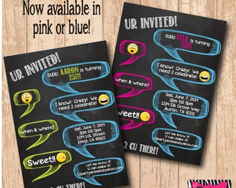 DIY Printable Chalkboard Text Inspired Party Invite