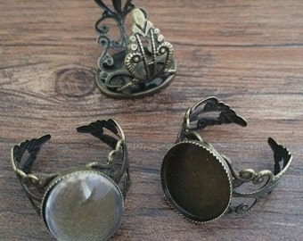 10set  13mmx18mm Antique Bronze  Oval Ring Trays with Glass Cabochons