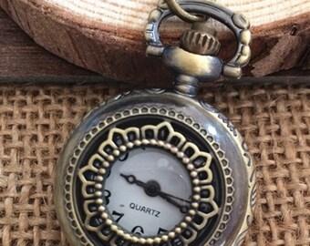 1Pcs  25mmx25mm Bronze color  Flower pocket watch charms pendant  S05