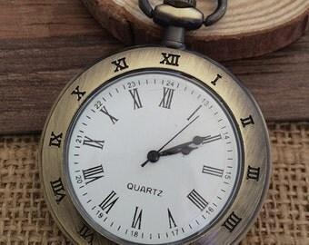 1pcs 47mmx47mm Bronze color Roman numeralspocket watch charms pendant PW059