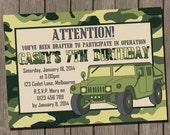 Army Birthday Invitation, Camouflage Birthday Party, Printable Digital Invitation