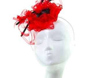 HASHI - Couture Red Headpiece