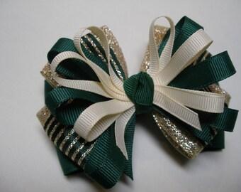 Forest Hunter Green School Uniform Style U Pick Color Hair Bow Grosgrain Ribbon Unique Toddler Girl Team Sprit Wear