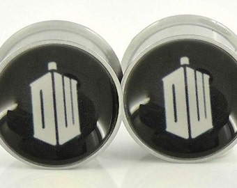 Doctor Who Image Plugs - 18g,0g,00g,7/16,1/2, 9/16, 5/8,11/16,3/4,7/8