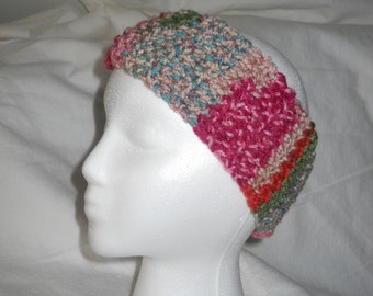 HEADBAND EARWARMER SOFT Pinks Greens and Oranges From The Garden With A Textured Stitch