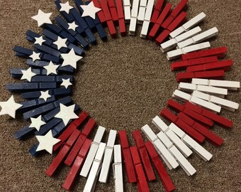 Patriotic wooden wreath