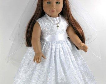 Handmade First Communion Confirmation Doll Dress for American Girl - Cross Necklace, Veil, Pantalettes - White Satin, Floral Lace Overlay