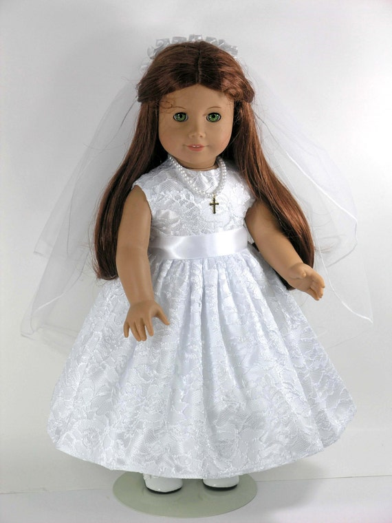 handmade first communion american girl doll dress cross. Black Bedroom Furniture Sets. Home Design Ideas