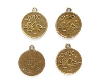 4 Antique Bronze Zodiac Virgo Charms - 23-23-9