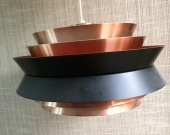 Carl Thore, Granhaga Sweden ,UFO vintage light fixture. Black red copper