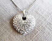Necklaces for women, Heart necklace, Rhinestones heart pendant, Anniversary heart gift for her, Unique affordable heart gifts for fiancé