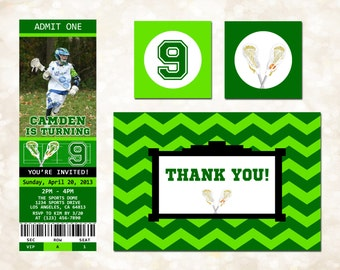 Lacrosse Ticket Invitation, Thank You Card, Cupcake Toppers - Custom Birthday Party Package (Digital Printable Files ONLY)