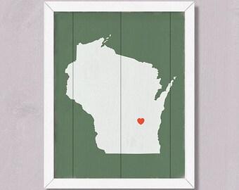 Home decor WISCONSIN - Rustic decor wall hanging 16x20 Custom Heart Sign - Wedding Housewarming Bridal Shower Family gift