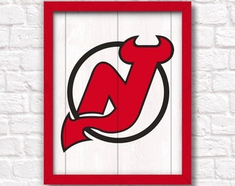 New Jersey DEVILS rustic handmade sign - NJ Devils fan NHL hockey wall sign Boys room Man cave decor - Fathers Day gift for Dad