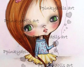 INSTANT DOWNLOAD Digital Digi Stamps..by Chrishanthi's art,Cookie with baloon''