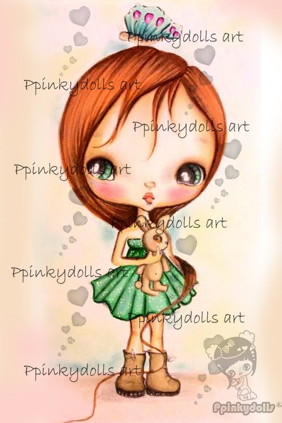 INSTANT DOWNLOAD Digital Digi Stamps..by Chrishanthi's art,Cookie with bunny''