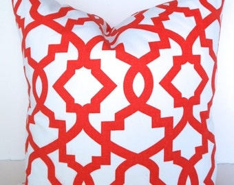Sale ORANGE PILLOWS RED Pillow Covers Orange Throw Pillows Red Coral Pillow Covers 16 18x18 20.All Sizes. Geometric Home Decor