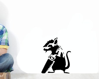 Banksy Stencil Sawing Rat - Reusable. Use Banksy Rats Graffiti Stencils to Paint Wall, T shirts, Furniture. Available in various sizes.