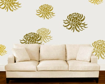 Chrysanthemum Stencil, Floral Flower stencil,  Painting stencils, Large wall stencil, Paint any surface-walls clothes furniture, sizes XS-XL