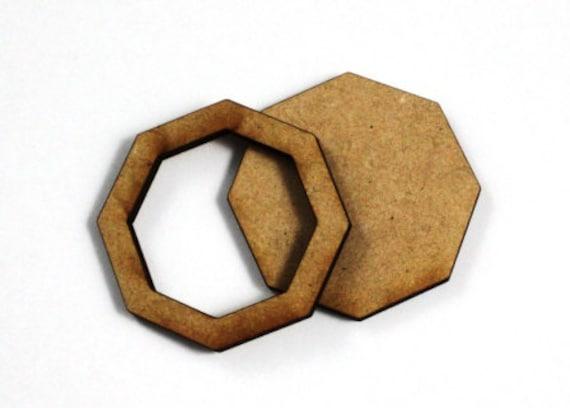 1 Large Craft Wood Bezel Octagon Frames, 250 mm Wide, lasercut wood