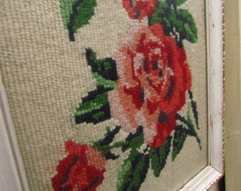 Framed Needlepoint Tea Roses - White and Gilt Frame with Low Glare Glass
