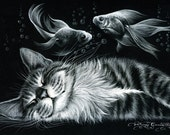 Sale**Sale**Sale  Calling all Cat Lovers PRECIOUS DREAM'S is a14,16 or 18 count cross stitch pattern  for Anchor or DMC  Threads