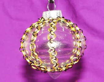 Chainmail Wrapped Glass Christmas Oranment