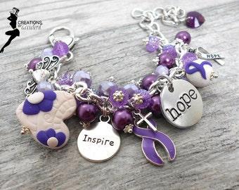 Personalized Crohn's Disease Bracelet in Stainless Steel | Alzheimer's Disease Bracelet | Cystic Fibrosis Awareness | Purple Awareness