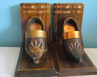 Wood and Brass Wooden Shoe Bookends  Book Ends Metal Brass Mid Century Modern Decor Dutch wood shoes