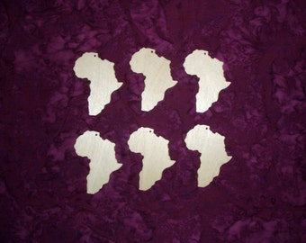 "Africa Shape Wood Cut Out Unfinished Wooden Country 6 pieces 2.5"" inch"