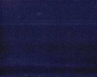Mini Dots - white pindots on navy blue cotton - YARD