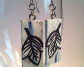 Blue Leaf Hanji Paper Earrings Leaf Design Delicate Blue Navy Dangle Earrings Hypoallergenic hooks Lightweight Ear rings