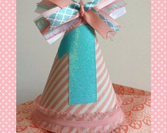 Coral Teal and Pink Birthday Party Hat