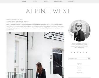 "Blogger Template Premade Blog Design - ""Alpine West"" Blogger Theme Simple Minimalist"