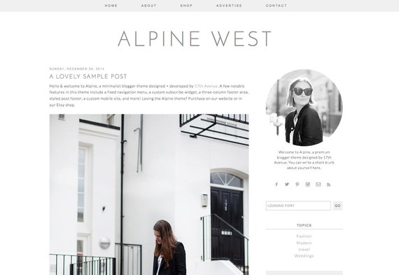 "Blogger Template Premade Blog Design - ""Alpine West"" Blogger Theme Simple Minimalist"