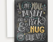 I Love You A Bushel & A Peck - I Love You Card - Cute Card - Chalkboard Art Card