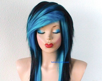 Scene wig. Emo wig. Black / Turquoise Long layered hairstyle wig. Scene girl wig. Durable heat friendly wig for daily use or Cosplay.