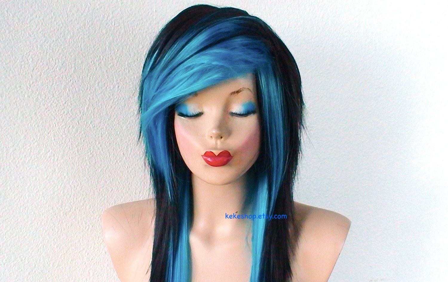 Scene Wig. Emo Wig. Black / Turquoise Long Layered Hairstyle