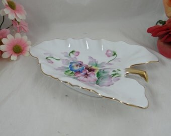 1950s Rosetti Hand Painted Leaf Serving Dish