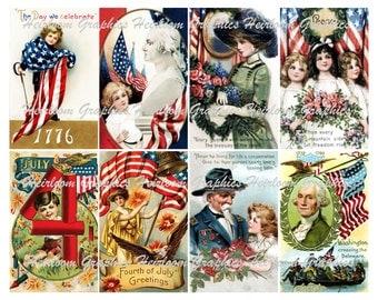 Fourth of July  Download  Vintage Patriotic July 4th Postcard Digital Download